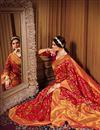 photo of Banarasi Style Art Silk Red Color Puja Wear Weaving Work Saree