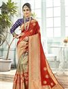 image of Weaving Work Designs On Maroon Color Function Wear Saree In Art Silk Fabric With Classic Blouse