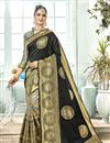 image of Weaving Work On Art Silk Fabric Party Wear Saree In Black Color With Beautiful Blouse