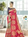 image of Pink Color Designer Saree In Art Silk Fabric With Weaving Work Designs And Attractive Blouse