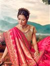 photo of Pink Color Sangeet Wear Designer Weaving Work Saree With Embroidered Blouse