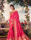 image of Pink Color Sangeet Wear Designer Weaving Work Saree With Embroidered Blouse