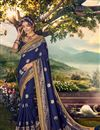 image of Sangeet Wear Banarasi Silk Fabric Designer Weaving Work Saree With Embroidered Blouse