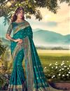 image of Teal Color Sangeet Wear Designer Weaving Work Saree With Embroidered Blouse