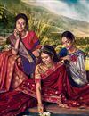 photo of Banarasi Silk Fabric Designer Sangeet Wear Weaving Work Saree With Embroidered Blouse