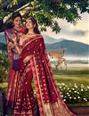 image of Banarasi Silk Fabric Designer Sangeet Wear Weaving Work Saree With Embroidered Blouse