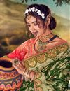 photo of Banarasi Silk Fabric Sangeet Wear Designer Weaving Work Saree With Embroidered Blouse