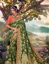 image of Banarasi Silk Fabric Sangeet Wear Designer Weaving Work Saree With Embroidered Blouse
