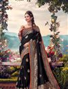 image of Banarasi Silk Fabric Sangeet Wear Designer Weaving Work Saree With Embroidered Blouse