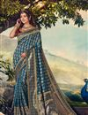 image of Sky Blue Color Sangeet Wear Designer Weaving Work Saree With Embroidered Blouse