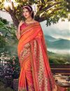 image of Orange Color Sangeet Wear Designer Weaving Work Saree With Embroidered Blouse