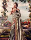 image of Grey Color Designer Sangeet Wear Weaving Work Saree With Embroidered Blouse