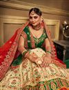 photo of Cream Color Satin Fabric Reception Wear Lehenga Choli