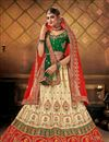 image of Cream Color Satin Fabric Reception Wear Lehenga Choli
