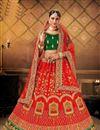 image of Satin Fabric Red Color Wedding Wear 3 Piece Lehenga Choli