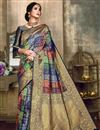 image of Function Wear Fancy Art Silk Designer Saree In Multi Color With Weaving Work