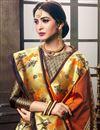 photo of Traditional Art Silk Function Wear Weaving Work Designer Saree In Orange