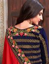 photo of Tempting Red Color Fancy Fabric Function Wear Saree With Embroidery Work