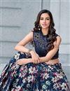 photo of Velvet Fabric Printed Designer Bridal Wear Navy Blue Color Lehenga