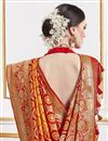 photo of Orange Color Function Wear Viscose Fabric Trendy Weaving Work Saree