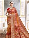 image of Orange Color Function Wear Viscose Fabric Trendy Weaving Work Saree