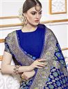 photo of Trendy Viscose Fabric Function Wear Blue Color Weaving Work Saree