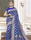 image of Trendy Function Wear Blue Color Weaving Work Saree In Viscose Fabric