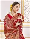 photo of Function Wear Viscose Fabric Trendy Weaving Work Saree In Rani Color