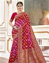 image of Function Wear Viscose Fabric Trendy Weaving Work Saree In Rani Color