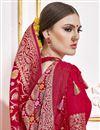 photo of Viscose Fabric Function Wear Rani Color Trendy Weaving Work Saree