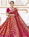 photo of Function Wear Viscose Fabric Trendy Pink Color Weaving Work Saree