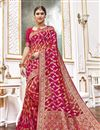 image of Function Wear Viscose Fabric Trendy Pink Color Weaving Work Saree