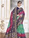 image of Trendy Sea Green Color Function Wear Viscose Fabric Weaving Work Saree