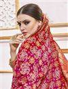 photo of Function Wear Rani Color Trendy Weaving Work Saree In Viscose Fabric