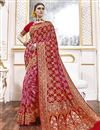 image of Function Wear Rani Color Trendy Weaving Work Saree In Viscose Fabric