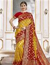 image of Trendy Yellow Color Function Wear Viscose Fabric Weaving Work Saree