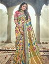image of Wedding Function Wear Banarasi Silk Designer Saree In Cream