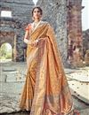 image of Banarasi Silk Salmon Party Wear Saree With Weaving Designs