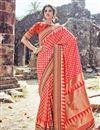 image of Weaving Designs On Crimson Occasion Wear Saree In Banarasi Silk