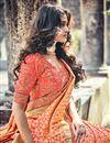 photo of Orange Weaving Designs On Banarasi Silk Occasion Wear Saree