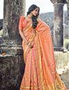 image of Orange Weaving Designs On Banarasi Silk Occasion Wear Saree