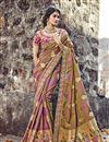 image of Weaving Designs On Light Brown Banarasi Silk Function Wear Saree