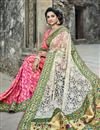 photo of Embroidered Fancy Reception Wear Saree In Off White And Pink