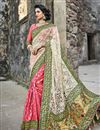 image of Embroidered Fancy Reception Wear Saree In Off White And Pink