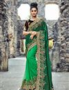 image of Wedding Special Embroidered Satin And Net Dark Green Designer Fancy Saree