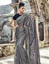 image of Wedding Wear Heavy Work Designer Net Saree In Grey