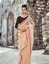 image of Peach Embroidered Reception Wear Fancy Saree In Net