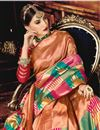 photo of Weaving Work On Art Silk Fabric Brown Function Wear Saree With Enigmatic Blouse