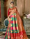 image of Weaving Work On Art Silk Fabric Brown Function Wear Saree With Enigmatic Blouse