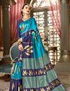 image of Weaving Work On Sky Blue Art Silk Fabric Designer Saree Wth Captivating Blouse